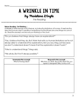 A Wrinkle in Time Comprehension Questions or Quizzes