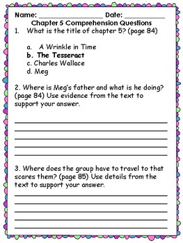 A Wrinkle in Time  Comprehension Questions Chapters 5 & 6