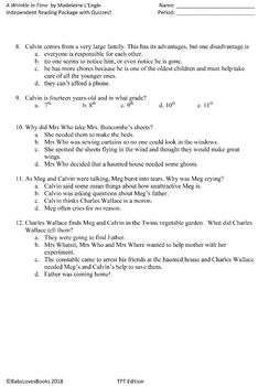 A Wrinkle in Time Independent Reading Package with Quizzes!