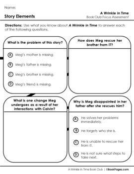 A Wrinkle in Time Lesson Plan (Book Club Format - Story Elements) (CCSS)