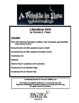 A Wrinkle in Time Literature Unit or Book Club selection