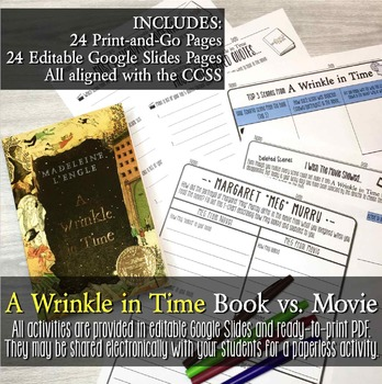 A Wrinkle in Time Novel Movie Comparison Editable Activities