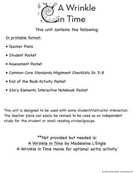 A Wrinkle in Time Novel Study Book Unit Printable Version