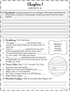 A Wrinkle in Time Novel Study FREE Sample