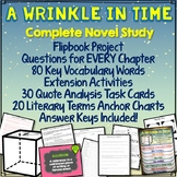 A Wrinkle in Time Novel Unit, Chapter Questions, Quote Analysis, FlipBook