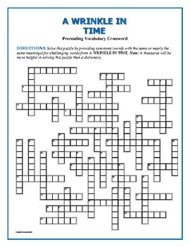 A Wrinkle in Time: Prereading Vocab Crossword—Great Prep. for the Book!