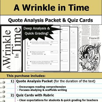 A Wrinkle in Time - Quote Analysis & Reading Quizzes