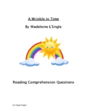 A Wrinkle in Time Reading Skills Worksheets