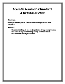 A Wrinkle in Time Socratic Seminar