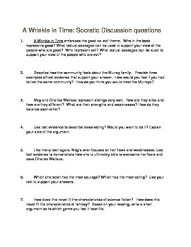 A Wrinkle in Time Socratic Seminar questions