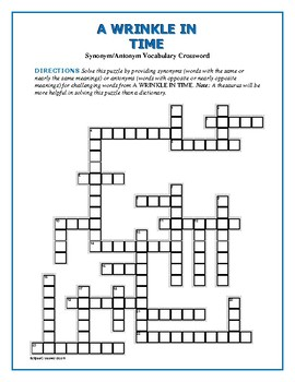 A Wrinkle in Time Synonym/Antonym Crossword—Use with Bookmarks Plus!