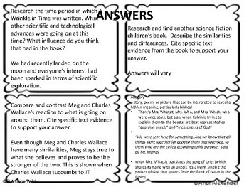 A Wrinkle in Time Task Cards w/ Answers