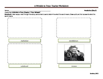 A Wrinkle in Time Teacher Worksheets