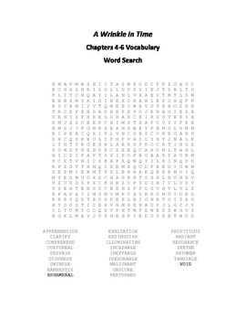 A Wrinkle in Time Vocabulary Word Search for Chapters 4-6
