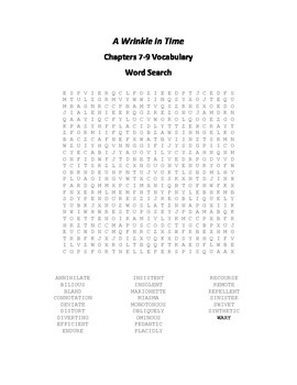 A Wrinkle in Time Vocabulary Word Search for Chapters 7-9