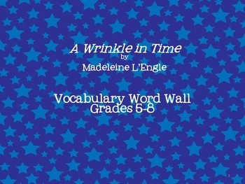 A Wrinkle in Time Vocabulary Word Wall