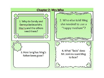 A Wrinkle in Time Vocabulary and Guided Reading Task Cards