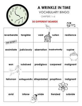 A Wrinkle in Time Vocabulary bingo