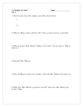 A Wrinkle in Time, by M. L'Engle, Comprehension Questions/Poetry Prompts