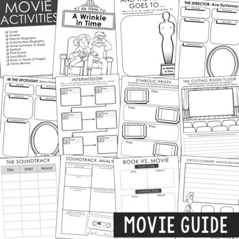 A Wrinkle in Time Novel Unit Study, Interactive Notebook and Worksheet Formats