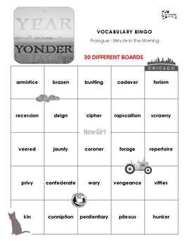 A Year Down Yonder Vocabulary Bingo