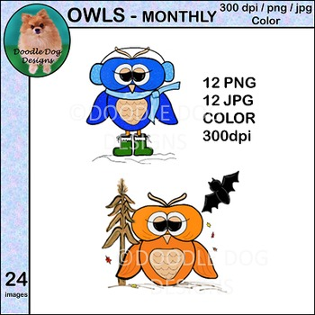 Owls - Clip Art - Monthly