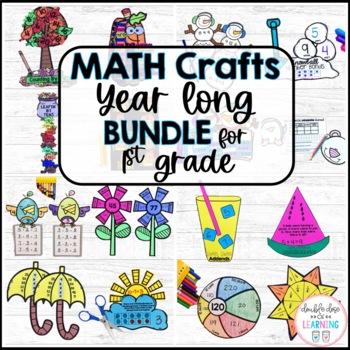 A Year-Long Bundle of Seasonal Math Craftivities for First Grade!