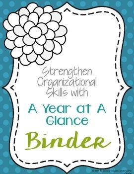 A Year at a Glance Organizational Binder