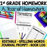1st Grade Spelling & Journal Homework {with editable templ