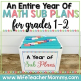 A Year of 1st and 2nd Grade Sub Plans MATH GROWING BUNDLE