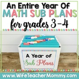 A Year of 3rd and 4th Grade Sub Plans MATH GROWING BUNDLE