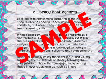 A Year of Book Reports for 5th Grade