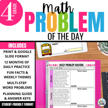 Daily Problem Solving for 4th Grade: Yearlong Word Problem Practice