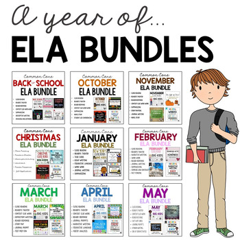 A Year of ELA Bundles for Grades 4-6 Common Core Aligned