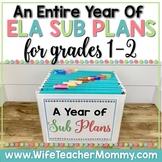 A Year of Emergency Sub Plans for 1st & 2nd Grade Sub Tub Bundle ELA