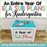 A Year of Emergency Substitute Plans for Kindergarten Sub Tub Bundle (ELA)