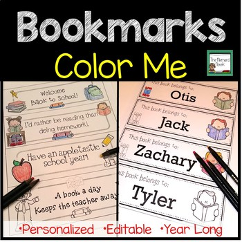 A Year of Editable Color-Me Bookmarks
