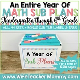 A Year of Emergency Math Substitute Plans for Kindergarten
