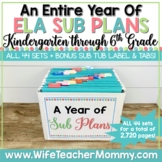A Year of Emergency ELA Substitute Plans for Kindergarten