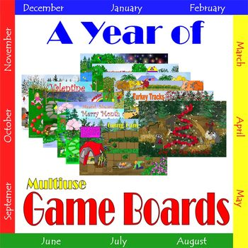 A Year of Game Boards:  Multiuse Game Boards for Classroom Centers