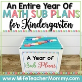 A Year of Emergency Substitute Plans for Kindergarten Math Bundle