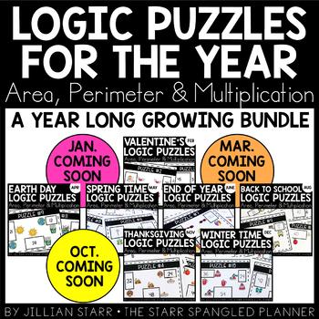 A Year of Math Logic Puzzles- Area, Perimeter & Multiplication {Growing Bundle}