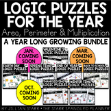 A Year of Math Logic Puzzles- Area, Perimeter & Multiplication {Growing Bundle}