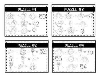 A Year of Logic Puzzles- Double Digit Addition & Subtraction {A Growing Bundle}