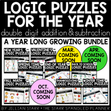 A Year of Math Logic Puzzles- Double Digit Addition & Subt