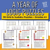 A Year of Logic Puzzles for Kids (Grid Puzzles & Sudoku Puzzles)