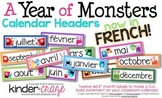 A Year of Monsters Calendar Headers {French Version}