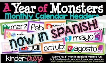 A Year of Monsters Calendar Headers {Spanish Version}