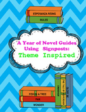 A Year of Novel Study Guides Using Signposts - THEME Inspired! (CCSS Aligned!)