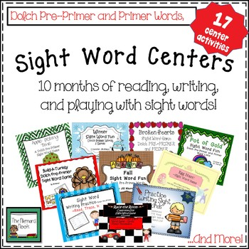 Sight Word Centers-A Year's Worth!  K-1
